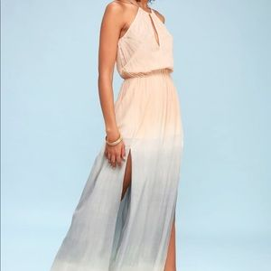 Dip dye side slits maxi dress